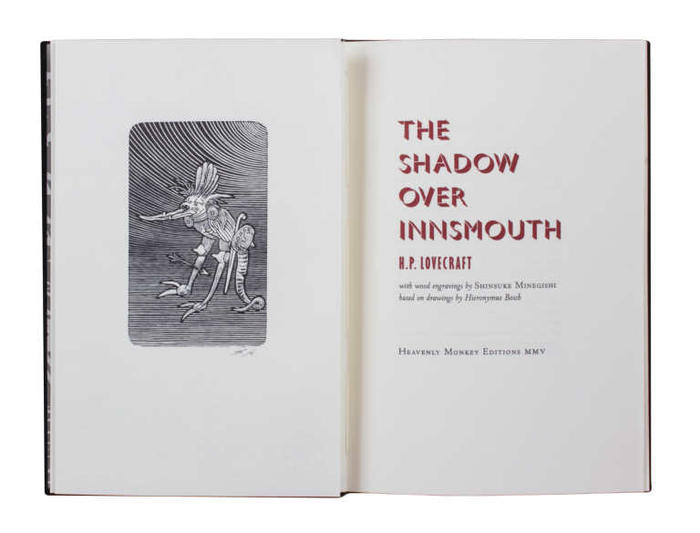 The Shadow Over Innsmouth; | with wood engravings by Shinsuke Minegishi based on drawings by Hieronymus Bosch. H. P. LOVECRAFT.