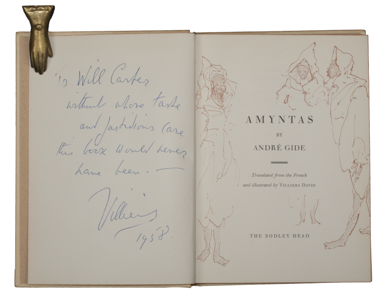 Amyntas.; Translated from the French and illustrated by Villiers David. WILL CARTER ASSOCIATION COPY, André GIDE.