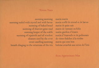 from Approximate Man] morning morning…. Tristan TZARA