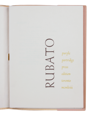 RUBATO.; [new poems by young canadian poets]. John Robert COLOMBO, ed