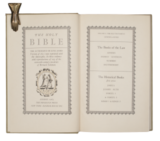 The Holy Bible. The Authorized or King James Version of 1611 now reprinted with the Apocrypha. In three volumes with reproductions of 105 of the sixteenth-century woodcuts of Bernard Solomon.