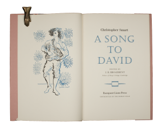 A Song to David. RAMPANT LIONS PRESS, Christopher SMART, Broadbent J B, ed